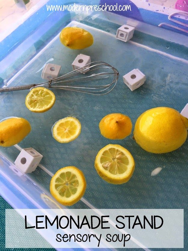Lemonade sensory soup play idea - fun for summer!  {Modern Preschool}