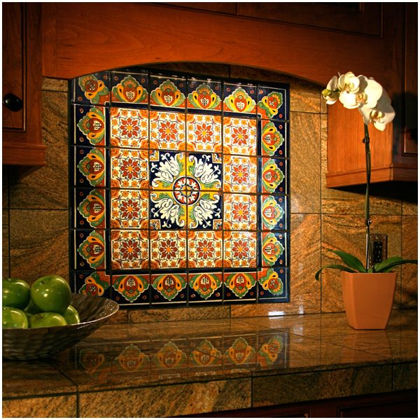 Talavera mexican ceramic border tiles spanish floor for Clay tile mural