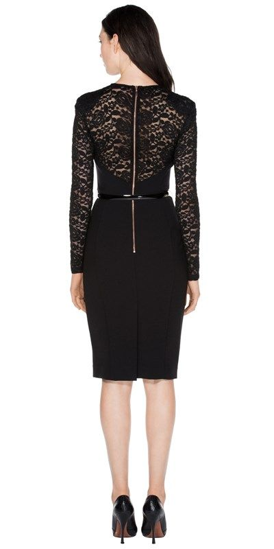 New Arrivals    Lace Contrast Fitted Dress