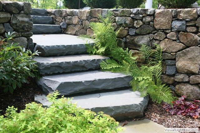 Stone slab steps leading to walk out basement img 3152 Walkout basement landscaping pictures