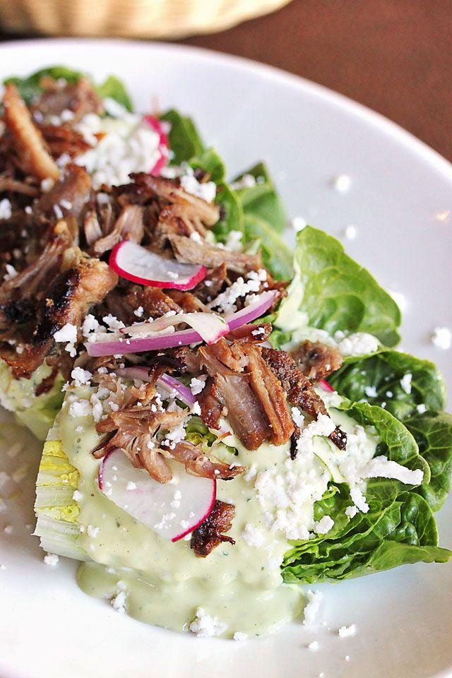 Ensalada de Gemas Pequeñas: Little Gem lettuce, onion, radish, cripsy carnitas, avocado dressing, queso fresco {Food photos from Centro Cocina Mexicana in Sacramento, CA} #mexicanfood #restaurant #dinner #lunch #summer #salad