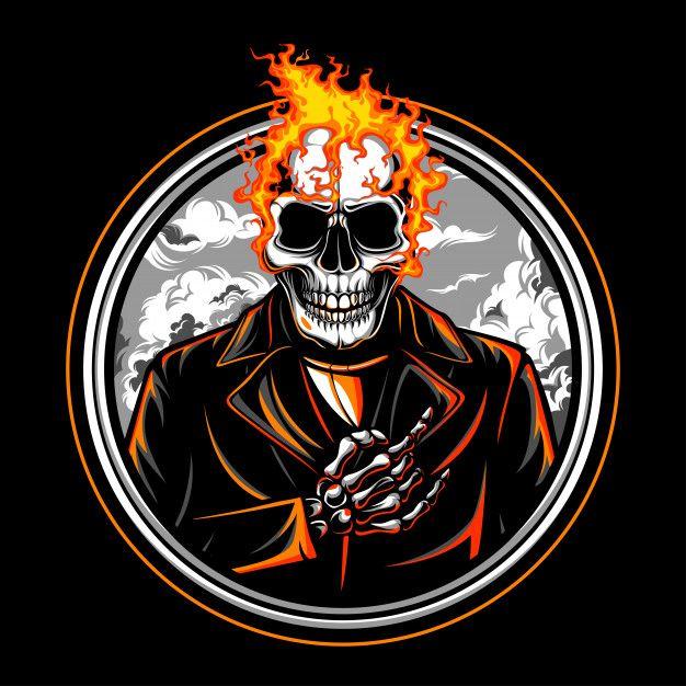 Skull Fire Vector Emblem Skull Fire Fire Vector Skull Logo