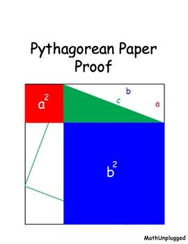 his math assignment is half geometry and half art. An appropriate lesson for geometry, algebra or pre-algebra. It is a proof of the Pythagorean Theorem without numbers.  Students start with a large paper square and add lines, labels, and folds on it to make the proof. You may find different versions of this lesson on the net. But it is unlikely you will find anything which puts the math and visual examples together the way I do. It is much easier to understand the proof this way.