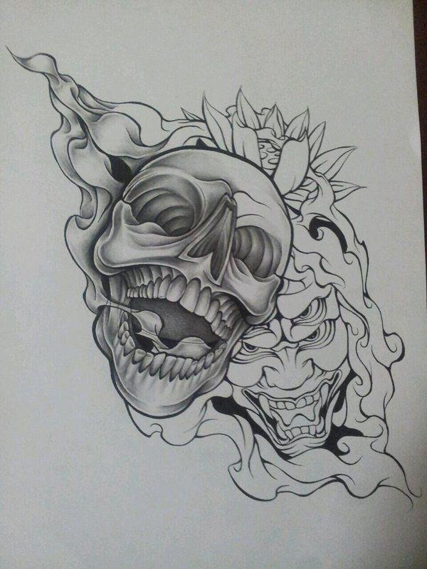 Skull Line Drawing Tattoo : Wip skull demon design by magnasicparvis on deviantart