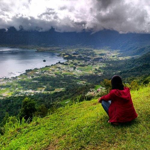 Lake Maninjau view from Puncak Lawang, West Sumatra, Indonesia.