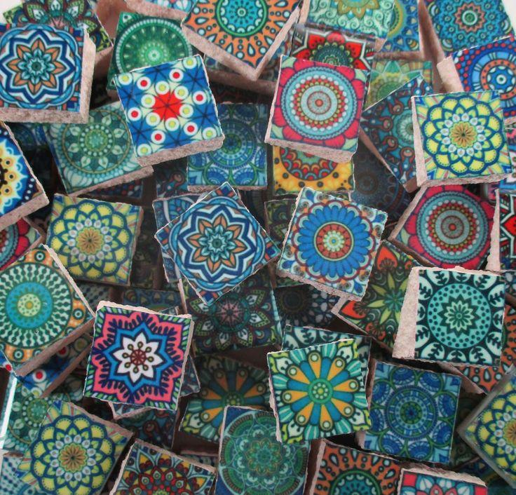 Ceramic Mosaic Tiles - Blue Green Multi Colored Medallions Moroccan Tile Mosaic - 90 Pieces /Mosaic Art / Mixed Media Art/Jewelry by WhereGypsiesRoam on Etsy https://www.etsy.com/listing/518778589/ceramic-mosaic-tiles-blue-green-multi