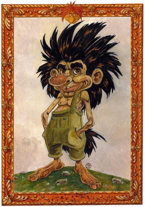 """Mountain troll Manual staining illustration from the book """"Bogus tells the little people"""" Eremon editions - Troll di montagna colorazione manuale illustrazione tratta dal libro """"Bogus racconta il Piccolo popolo"""" Eremon edizioni"""