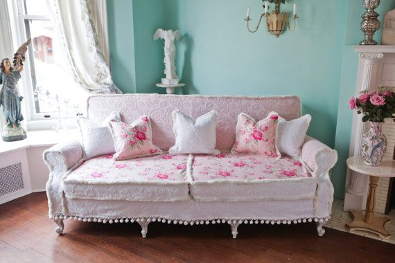 shabby chic couch sofa cottage white pink antique vintage prairie chenille bedspread roses