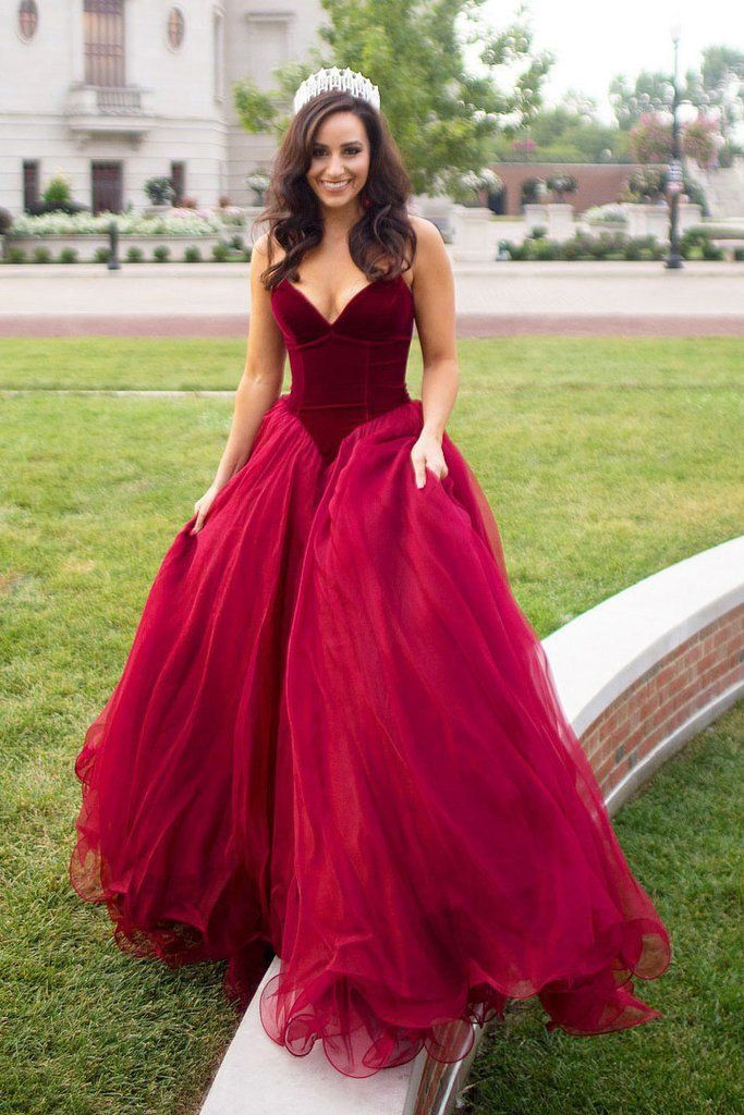 655318cfeaec A-line Burgundy Strapless Floor-length Long Prom Dresses