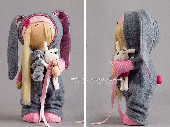 Rabbit baby doll Tilda doll Interior doll Art doll blonde grey pink colors soft doll Fabric doll Cloth doll Love doll by Master Alena Raduga