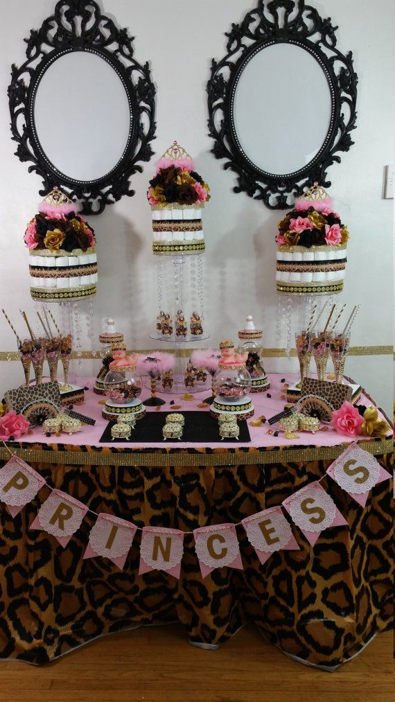 CUSTOM New PINK SAFARI Princess Baby Shower by PlatinumDiaperCakes
