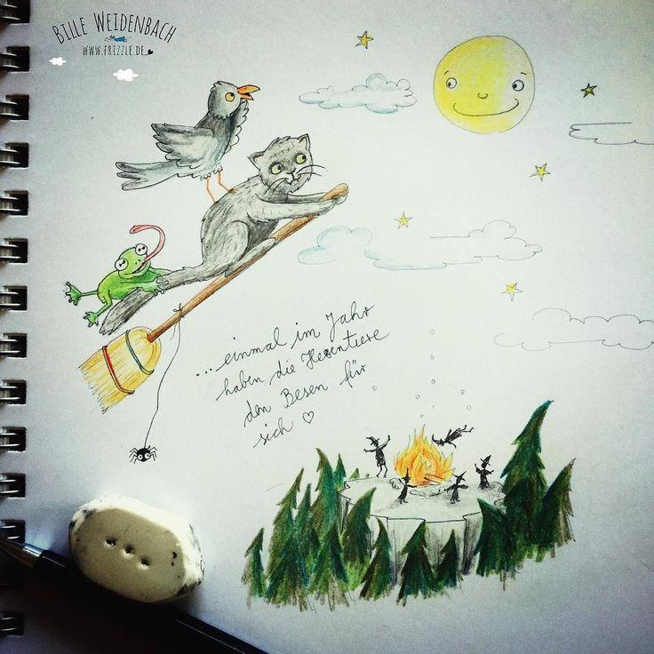 120/365 - heute ist Walpurgisnacht! Darauf freuen sich die Hexenhaustiere das ganze Jahr da dürfen sie endlich mal alleine 'ne runde fliegen!  . . . . #365doodlesmitjohanna @byjohannafritz  #kidlitart #hexenbesen #characterdesign #hexen #kinderbuchillustration #hexennacht #characterdesign #sketchbook #doodle #illustree #illustratorlife #illustrate #blocksberg  #drawnbyhand #illustratorenorganisation #doodle #doodleart #doodledaily #drawdaily #polychromos #bookillustration…