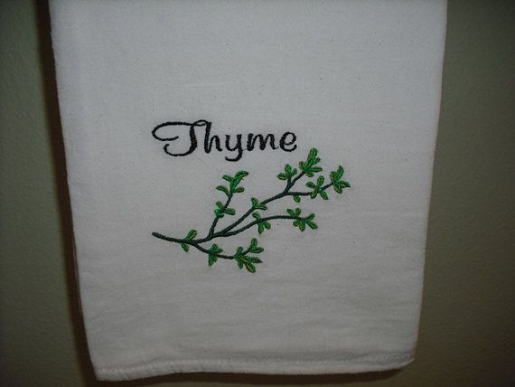 Thyme Herb Kitchen Flour Sack Towel machine embroiderd. Member FEST and CFEST.. $6.00, via Etsy.