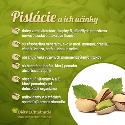 Viac sa o pistáciách dozviete v tomto článku http://www.dietyachudnutie.sk/stravovanie/pistacie-a-ich-nutricne-zlozenie/