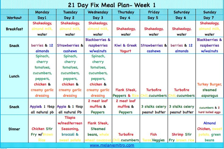 21 Day Fix Meal Plan.  Week 1 meal plan.  Color coded to make the containers much easier to decipher. www.melaniemitro.com