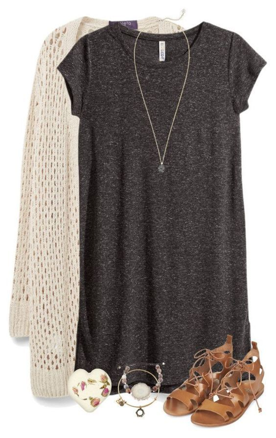 t shirt dress + cardigan + lace up sandals | comfy outfit ideas