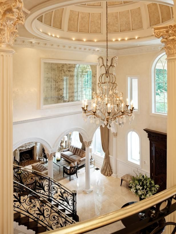 Regal Ceiling Finishes  in Elegant Black and White Entryway  from HGTV