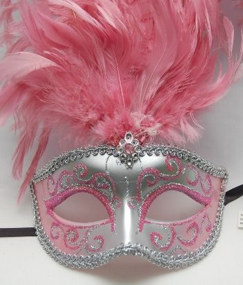 quinceanera mask decorations | Silver Form Fitting Mask w/Silver & Light Pink Glitter Light Pink ...