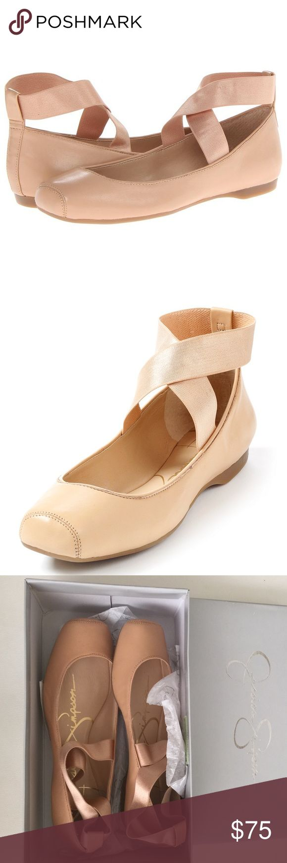Jessica Simpson Ballet Flats Jessica Simpson leather ballet flat style. Featured in natural. Criss cross elastic ankle strap. Closed toe. Closed back. Classic, comfy and cute! Jessica Simpson Shoes Flats & Loafers