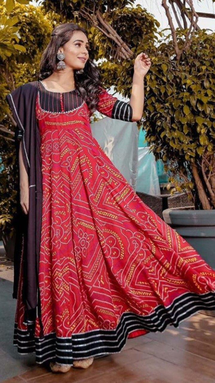 Beautiful bandhani Chiffon-silk Long Dress. Find this Pin and more on Indo-Western  Gown   Dresses ... 75bc6cc3f