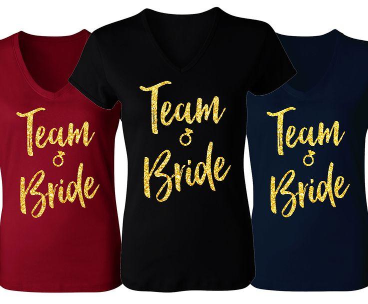 TEAM BRIDE V-neck with Gold Glitter Print