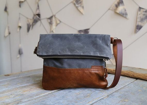Waxed Canvas and Leather Foldover Crossbody Bag door StitchandRivet