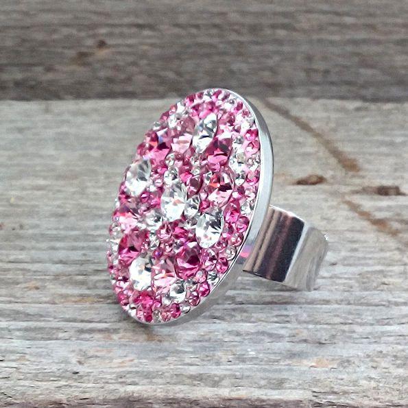 30mm rose tones Swarovski Crystal Steel adjustable ring - Surgical Steel Jewelry - sparkle crystal by SteelJewelryShop on Etsy