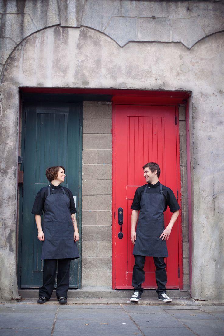 Uniformes restaurant - Veste de chef unisexe, tablier de cuisine.