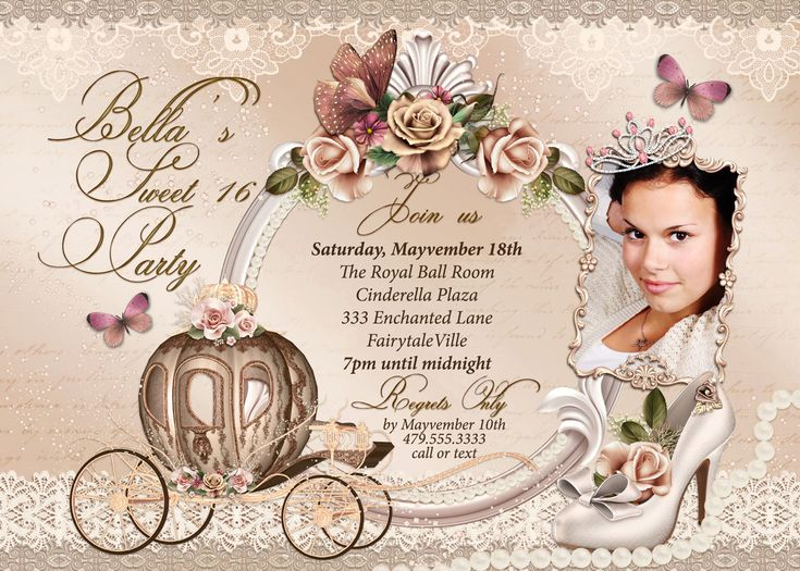 Quinceanera Invitation Cinderella Sweet 16 Sweet 16 by BellaLuElla, $15.00