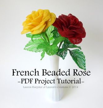 If you want to learn the amazing art of French Beaded Flowers THIS IS THE PLACE TO START! Roses are the most popular and you won't find a clearer more detailed instruction anywhere! I have been making these flowers for years and I still bought this because her work is exquisite and you can always learn something new. I was blown away how thorough this is and the photos are amazing. Lauren also has free tutorials at her blog. http://www.laurenscreations.net/tutorials.html