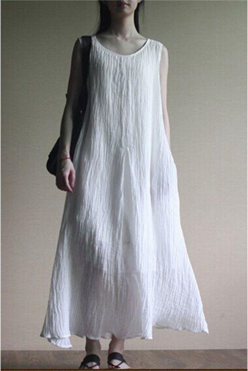 Linen Dress in white