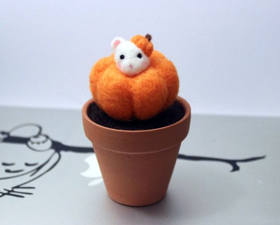 Needle Felted Potted Pumpkin Mouse Accessory Plant by CafeDeYume