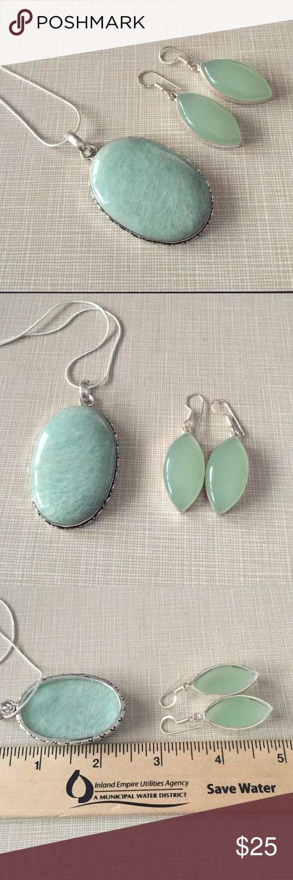 Pretty amazonite and milky chalcedony set Approximately 2'1/2long to 1'1/4wide 18' chain stamped 925 inlay artisan handcrafted earrings are 2' long very pretty NWOT Jewelry Necklaces