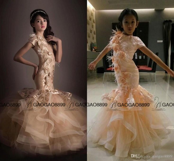 Handmade 3d Floral Flower Girl Dress Mermaid Appliques Cute Little Girl Pageant Gown For Wedding Party Communion Dress Birthday Dress Pageant Dresses For Juniors Pageant Dresses For Kids From Gaogao8899, $70.56| Dhgate.Com