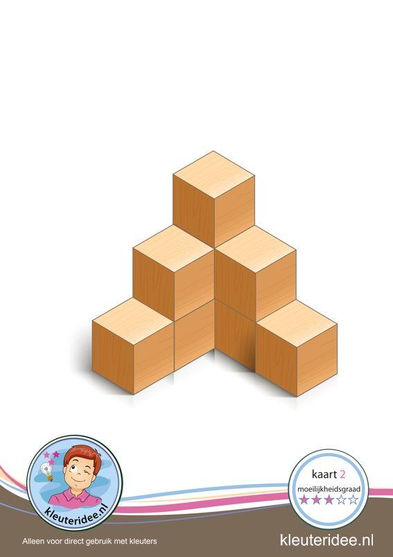 Bouwkaart 2 moeilijkheidsgraad 3 voor kleuters, kleuteridee, Preschool card building blocks with toddlers 2, difficulty 3