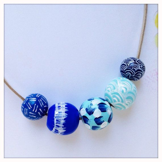 Hand Painted Geometric Wood Bead Necklace in Sea of Blues