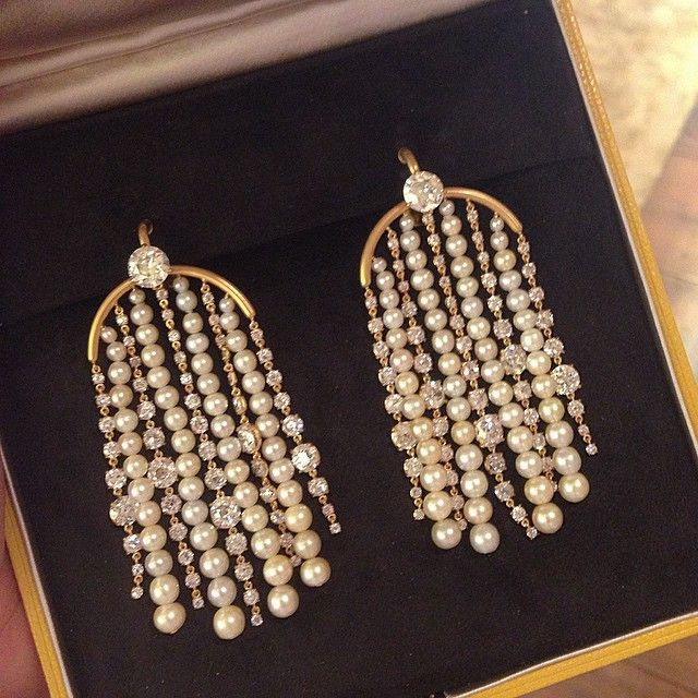 Natural Pearl and Diamond Ear Pendants, with diamonds weighing 22.00 carats #SABBAjewels #FDGallery #NaturalPearls