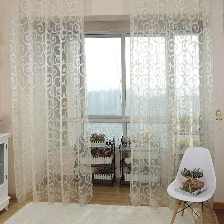 2017 Modern Solid Sweet Embroidered Voile Curtains Floral Tulle For Living Room Window
