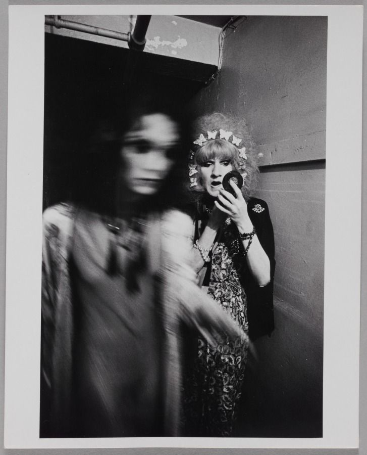 """Transvestite Applies Makeup, Backstage at a Performance of the """"Cockettes"""", New York City, 1971 © Leonard Freed"""