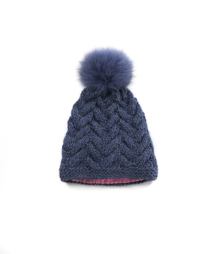 KNIT BEANIE CAP FOR WOMEN in Denim - CABLE KNIT HAT The GŌBLE Women Knit Beanie Cap is a luxurious soft blend of merino wool, alpaca and silk. HAND KNIT IN CANADA  GOBLE.CA