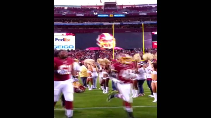 Redskins players coming out of the tunnel