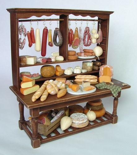 Mostrador de charcutería - Delicatessen Display. 1:12 Scale Dollhouse Miniature Food by njdminiatures, via Flick