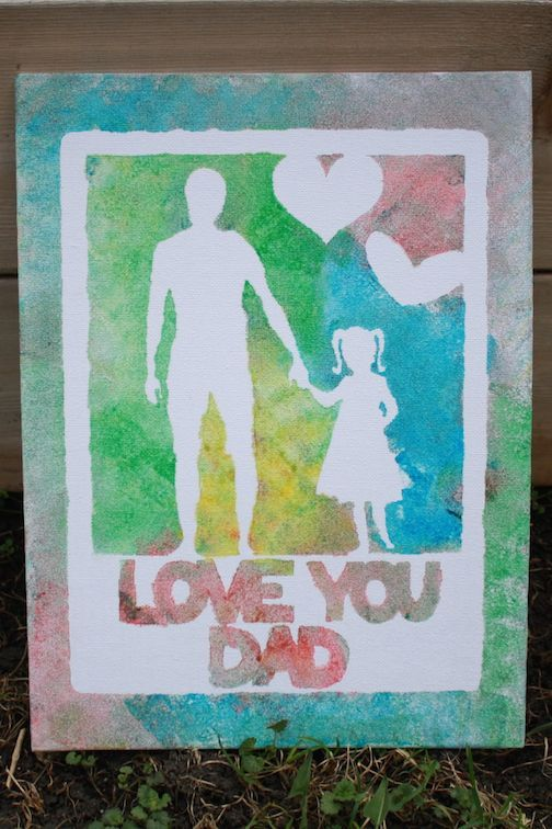 Father's Day Craft: Finger Painted or Sponge Painted Canvas using stencil material