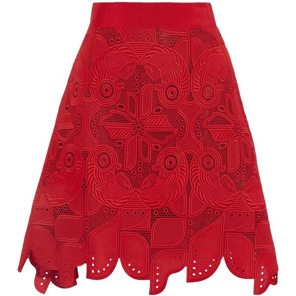 Antonio Berardi - Embroidered Cotton Skirt found on Polyvore featuring skirts, red, zipper skirt, embroidered skirt, red skirts, red cotton skirt and knee length pencil skirt