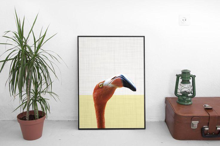 Flamingo Print, Flamingo Gifts, Animal Print, Safari Animal Print, African Decor Print, Woodland Animals, Nursery Prints, Kids Room Decor by SilBarragan on Etsy
