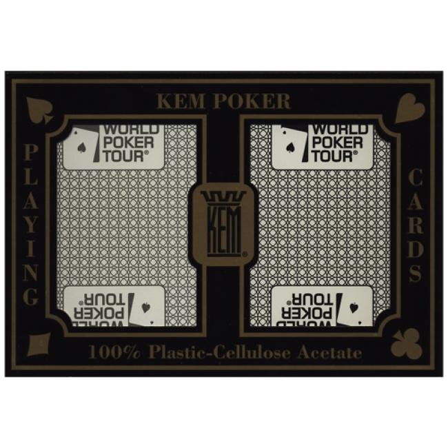 De World Poker Tour versie van de KEM pokerkaarten. Het zijn dus de bekende hoge kwaliteit KEM poker kaarten voorzien van het WPT logo op de achterzijde van de speelkaarten. De World Poker Tour bekend van televisie, zie RTL poker op RTL7!