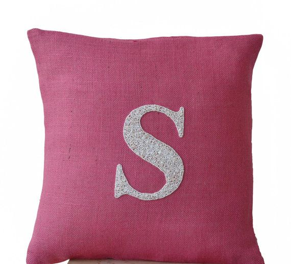 Pink Burlap Monogram Pillow  Customized Sequin by AmoreBeaute