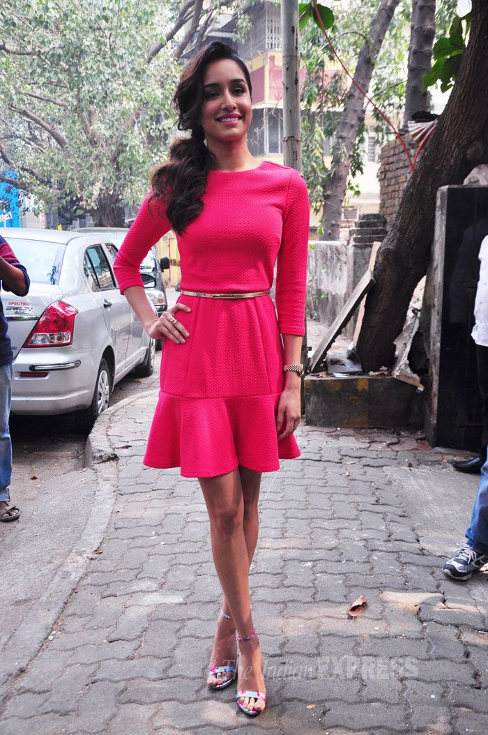 Shraddha Kapoor was pretty and feminine in a bright pink belted number with ankle-strap heels at a Lakme event.