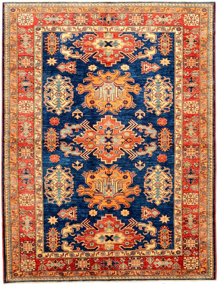 Peach And Navy Geometric Kazak Rug Orientalrugs
