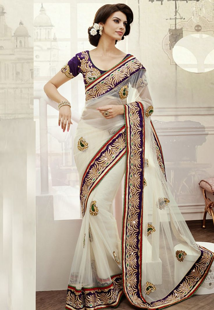 0e344fa05cd83d Black White Embrodired Georgette Net Wedding Saree With Blouse